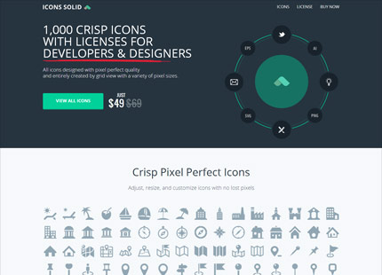 1,000 Crisp Icons with licenses for developers and designers