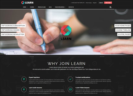 LEARN is an HTML5 Responsive site template suitable for Courses, Workshop, Lessons and learning sites. It based on Bootstrap 3 and it comes with powerfull contacts and subscriptions form